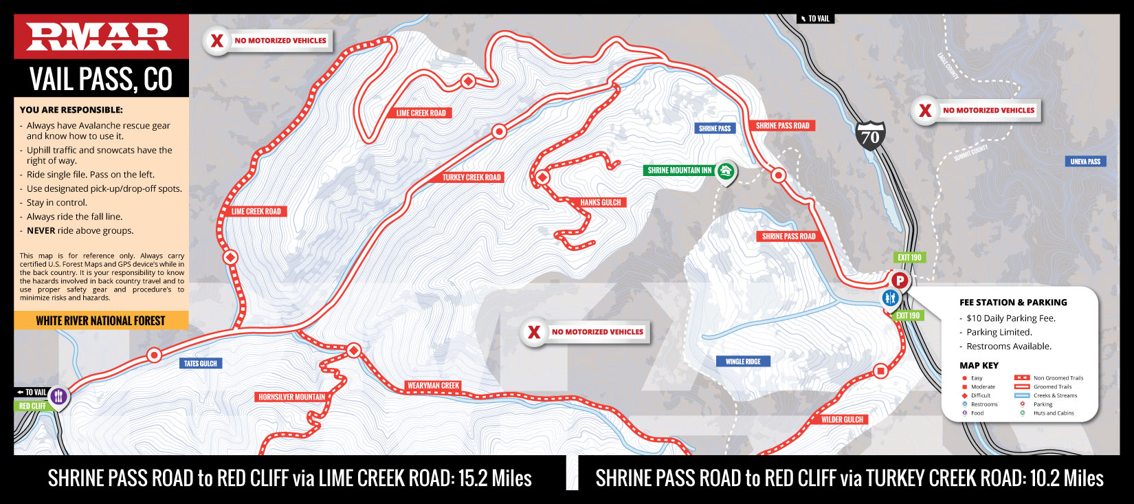 Vail Pass Colorado Timbersled, Snowmobile and Backcountry Ski Map
